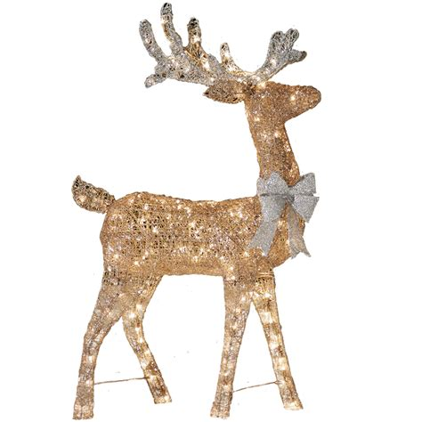 Reindeer Lights Outdoor Shop Living Pre Lit Reindeer Sculpture With Constant Clear White Incandescent Lights At