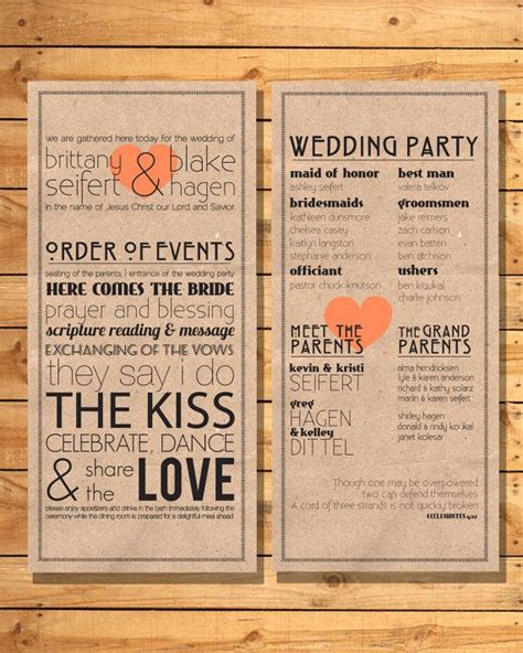 wedding order of events printable wedding program trademark order of events