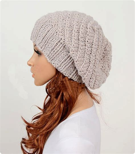 Handmade Knitted - slouchy handmade knitted hat clothing cap beige on