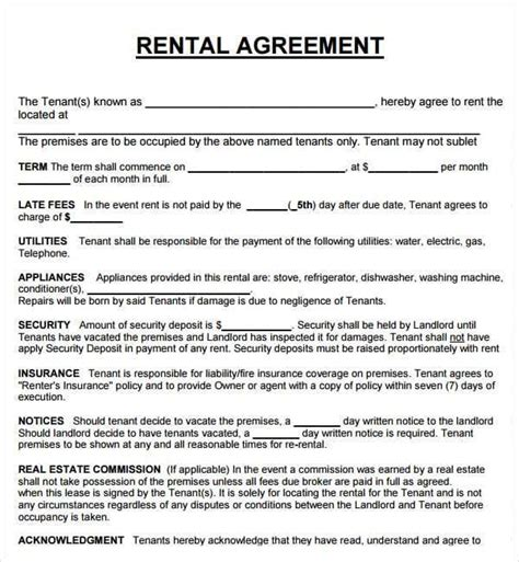 20 Rental Agreement Templates Word Excel Pdf Formats Rental Lease Template Word