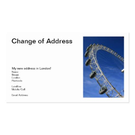 90 change of address business cards and change of address
