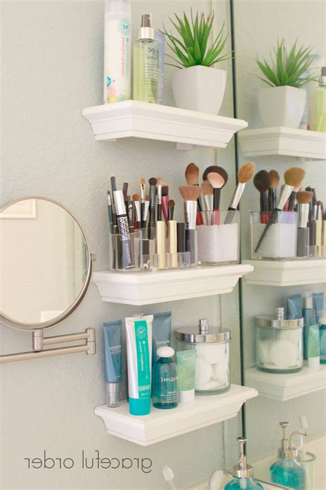 Bathroom Makeup Storage Ideas Large Acrylic Cosmetic Organizer For Lipsticks Foundations Creams Lotions And Brushes