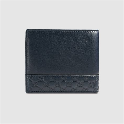 gucci leather wallet gucci blue leather bi fold wallet in blue for lyst