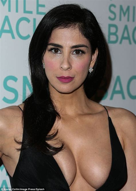 sarah silvermans hairy body sarah silverman displays cleavage in black dress for i