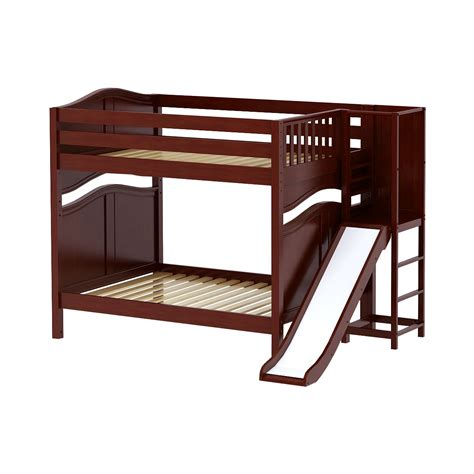 platform bed in chestnut with curved bed ends by maxtrix 200 maxtrixkids gamut cc high bunk bed with slide platform