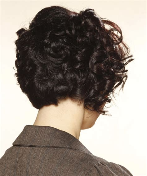 curly blunt cut short curly formal hairstyle with blunt cut bangs mocha