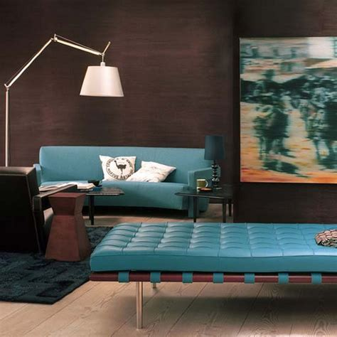 brown and turquoise living room photo