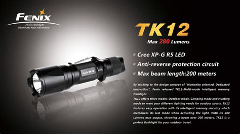 fenix tk12 r5 led flashlight eliteled fenix tk12 r5 tactical flashlight