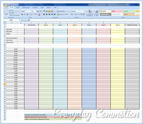 free walt disney world disneyland planning spreadsheet
