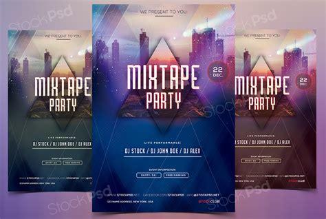 get mixtape party psd template flyer flyershitter com