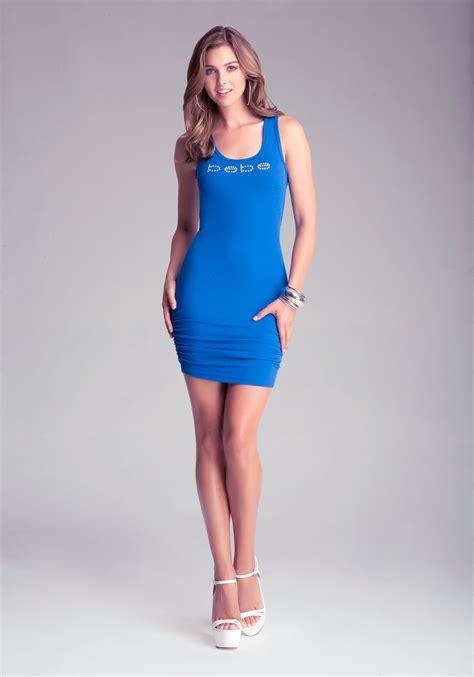 Tank Dress One Day Delivery by Lyst Bebe Racerback Tank Dress In Blue