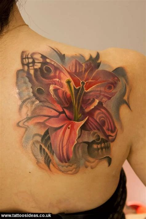 lily butterfly tattoo designs and butterfly same flowers tattoos