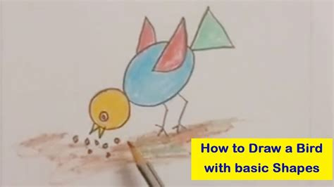 how to draw a bird using basic shapes i how to draw