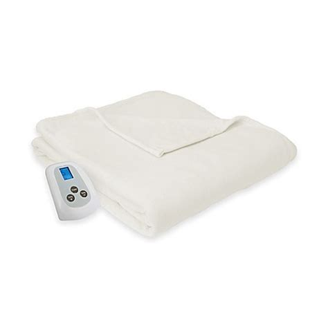 electric blanket bed bath and beyond micro fleece heated blanket in cream bed bath beyond