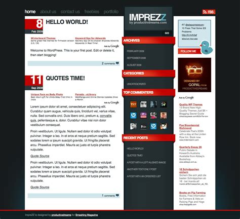 wordpress themes for march 18 2009 titan simple paper