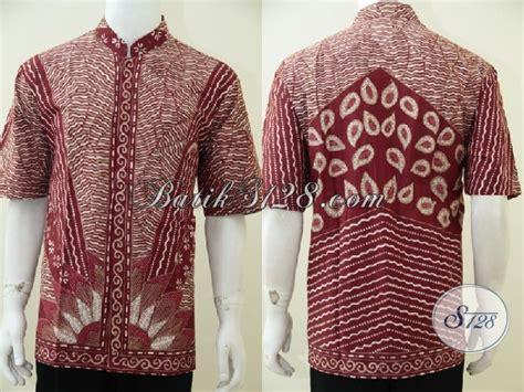 Baju Koko Gaul Merah kemeja batik tulis kerah shanghai trend busana muslim saat