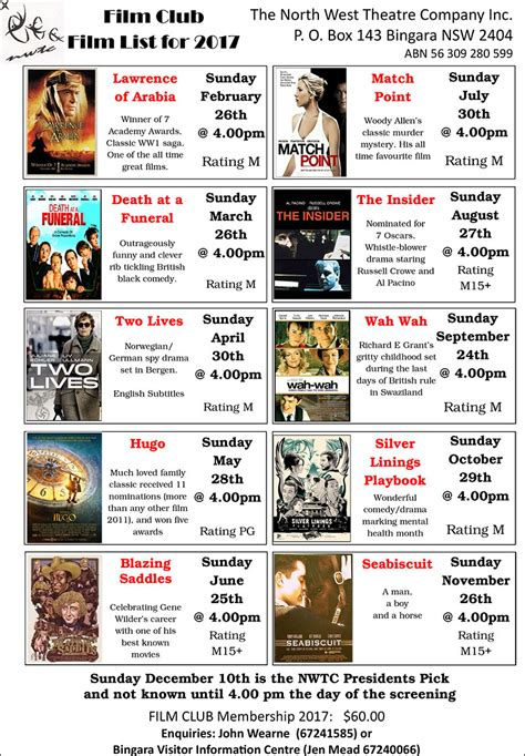 film 2017 list film club s early start to 2017 program bingara