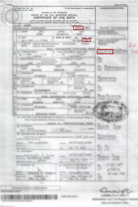 Philippines Records Sle Of Birth Certificate With Annotation Image