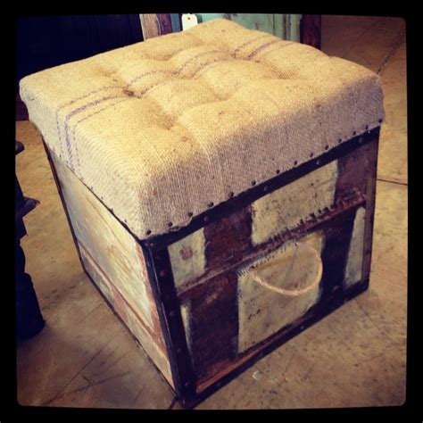 Unique Storage Ottoman Burlap Storage Ottoman Distressed Vintage Import Unique Furniture All Burlap