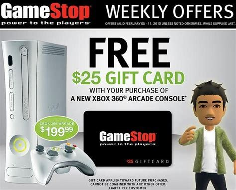 Xbox Live Gift Card Gamestop - game stop get a 25 gift card when you buy xbox 360