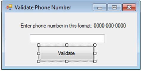 java pattern phone validation valid or invalid phone number in vb net free source code