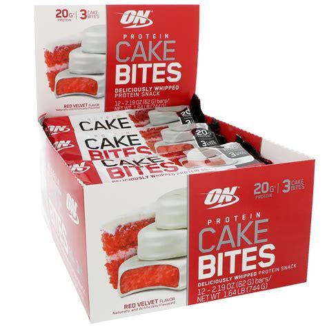 protein cake bites optimum nutrition protein cake bites velvet 12 bars