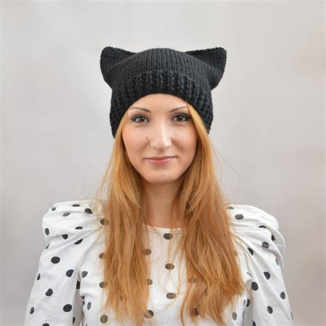 cat ear knit hat pattern black cat hat knit cat ear hat or cat beanie womens cat hat