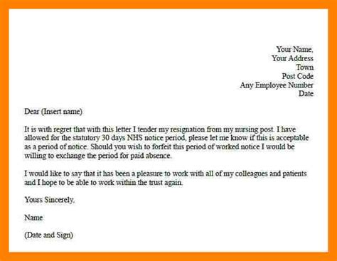 Exle Of Resignation Letter Uk by 7 Exle Of Resignation Letter Uk Emt Resume
