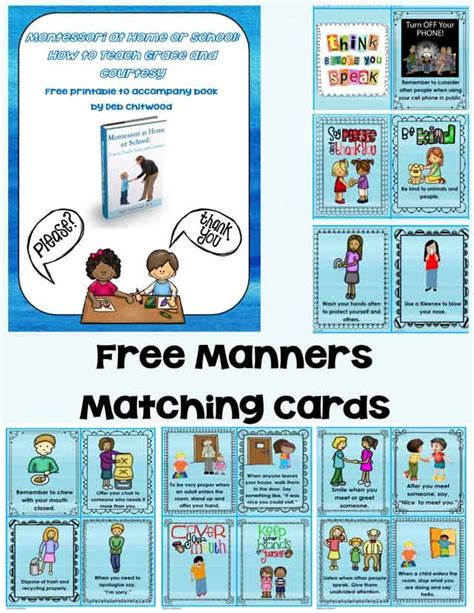 printable montessori flashcards montessori monday free grace and courtesy printable
