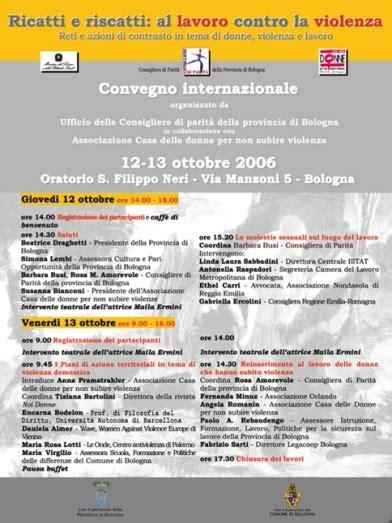 casa delle donne bologna 12 e 13 ottobre 2006 casa delle donne per non subire