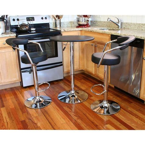 Vintage Bar Table And Stools Amerihome Retro Style Chrome Bar Table Set In Back With Adjustable Height Vinyl Padded Swivel