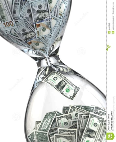 time is money inflation hourglass and dollar stock