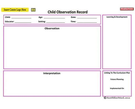 Running Record Behavior Observation Form For Preschool Google Search Classroom Documentation Running Record Template Early Childhood
