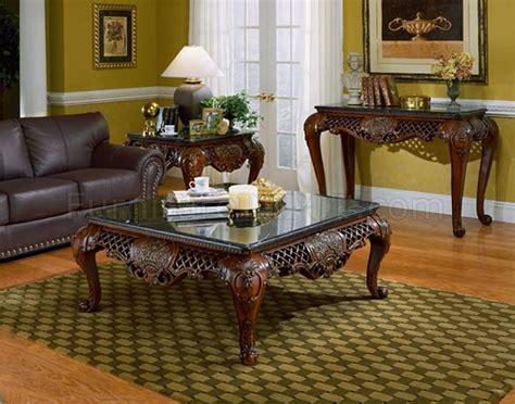 dark cherry finish traditional coffee table wblack marble top