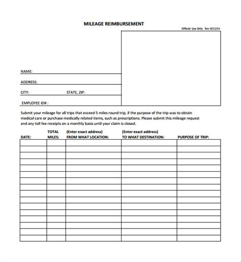 mileage forms template sle mileage reimbursement form 8 free