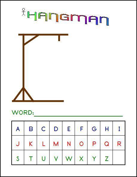 printable games hangman hangman game 4 x 6 laminated write and wipe game board