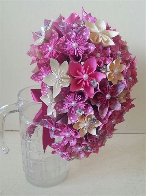 Origami Flower Wedding Bouquet - paper flower origami bouquet wedding crystals cascade tear