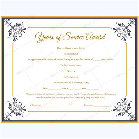 certificate for years of service template certificate templates