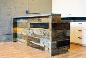 Industrial Reception Desk Industrial Looking Reclaimed Wood Reception Desk With Concrete Countertops Kitchen