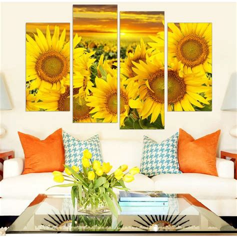 sunflower hd printed canvas painting flower wall art