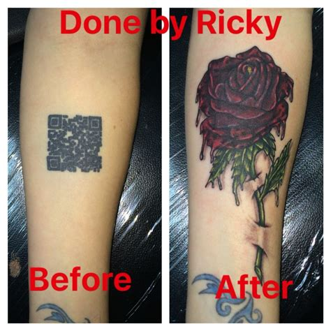 xtreme tattoo victoria tx scan bar box covered up by a rose tattoo done by ricky