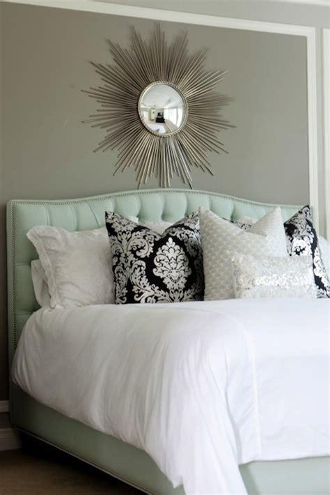 blue tufted headboard bedroom sherwin
