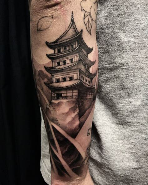 pagoda tattoo asian black and grey archives chronic ink