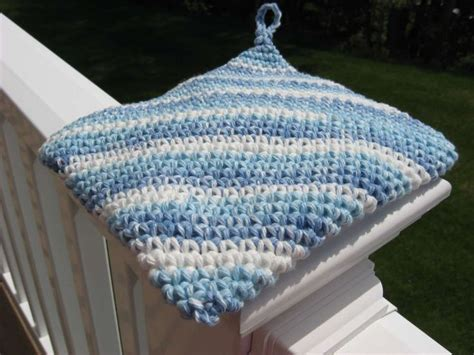 how to knit a potholder diagonal thickness crocheted cotton hotpad