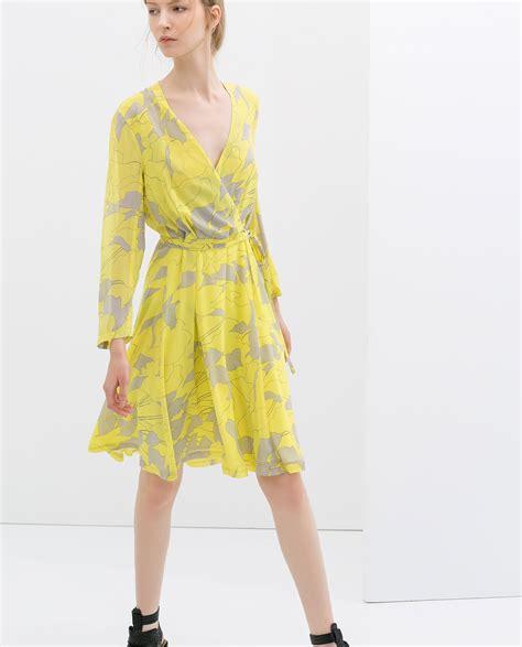 Dress Zara zara printed crossover dress in multicolor lyst