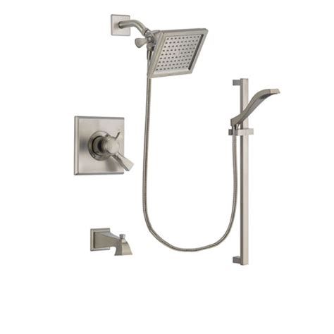 Delta Dual Shower System by Delta Dryden Stainless Steel Finish Dual Tub And