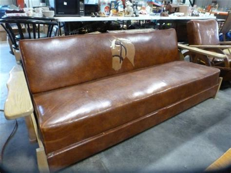 western futon leather western theme lo boy futon with oak wagon