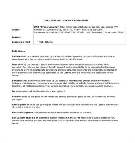 5 Sle Car Lease Agreements Sle Templates Auto Repair Agreement Template