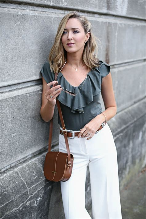 olive ruffle v neck top ivory culottes b low the belt