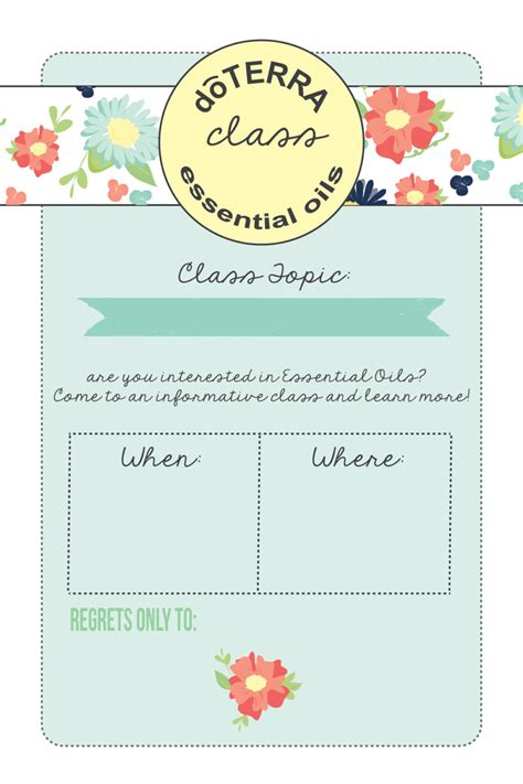 4x6 Doterra Class Invitation Instant Download By Mabelstreet Doterra Invite Template